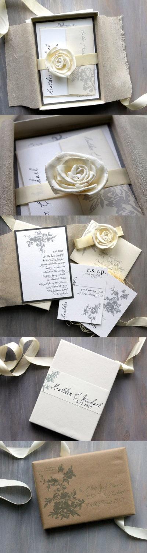 Invitaciones de boda elegantes con toques vintage. Clasicas, Elegantes y Rusticas Chic con Marfil Gris y Blanco