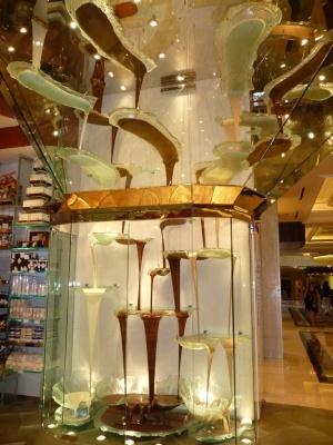 La fuente de chocolate mas grande del mundo en el Bellagio en Las Vegas