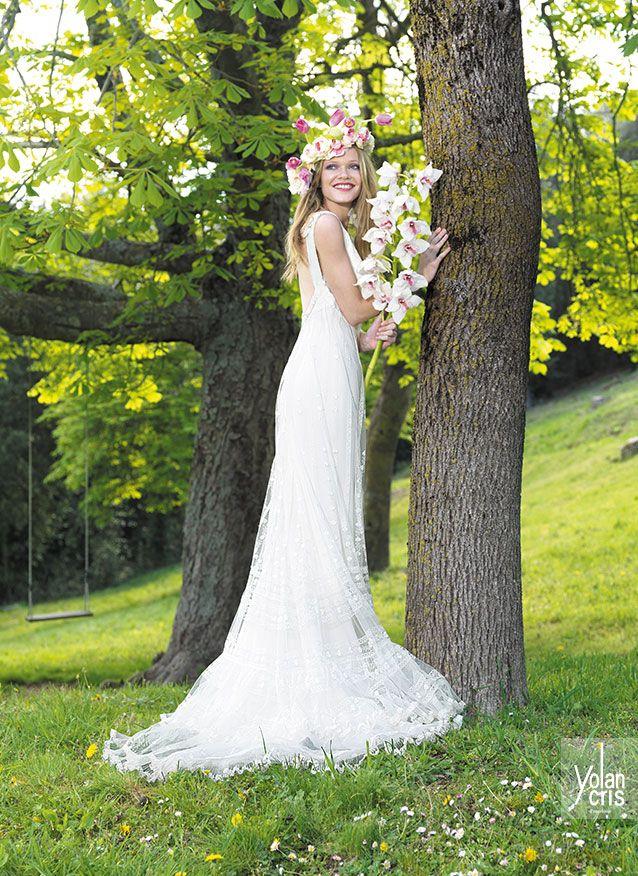 Vestido de Yolan Cris para novias hippie chic - Modelo Mariona