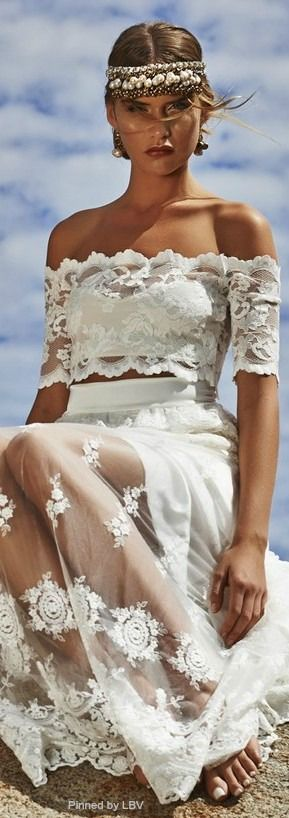 Bodas y novias bohemias y la belleza del encaje bordado