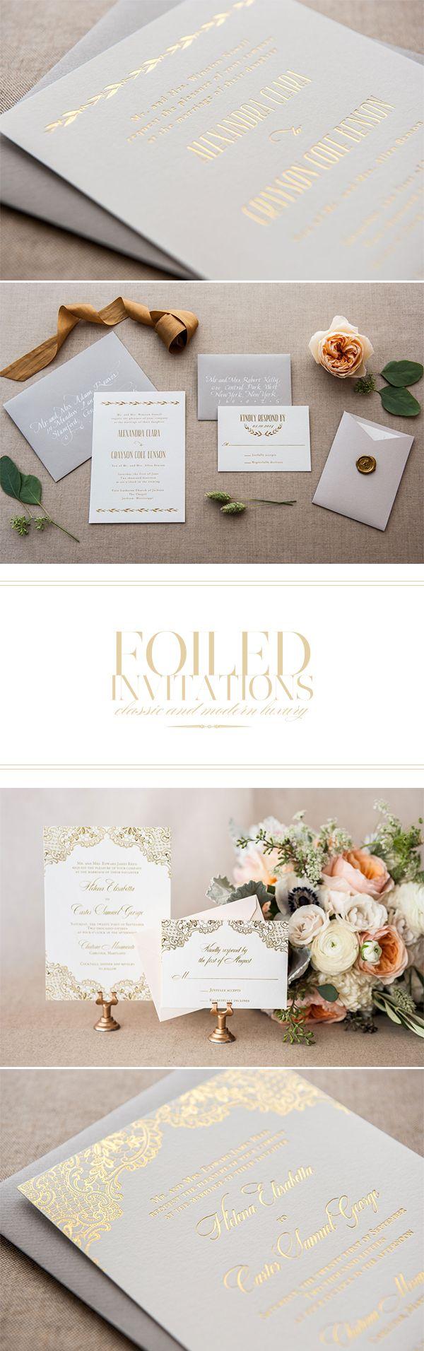 Conjunto de invitaciones de boda en blanco y dorado