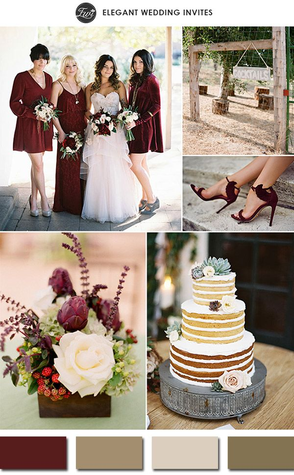 Una hermosa y campestre boda en color marsala | Decoracion en color marsala