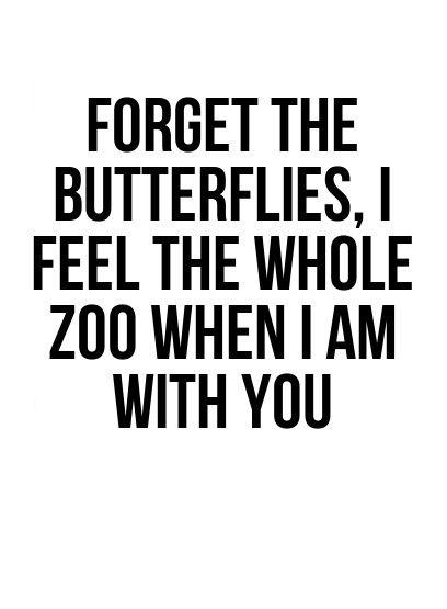Olvida las mariposas, cuando estoy contigo siento un zoológico entero. | frases de amor divertidas