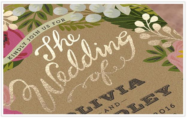 Tipografía en imitación foil dorado para invitaciones.
