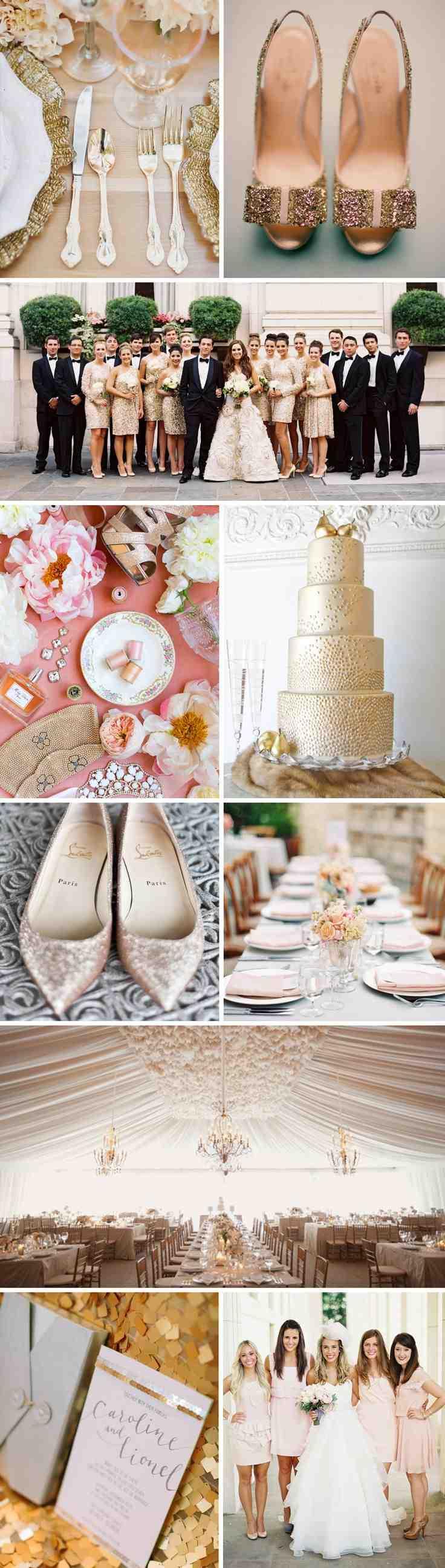 Increible decoracion de boda en blanco y dorado