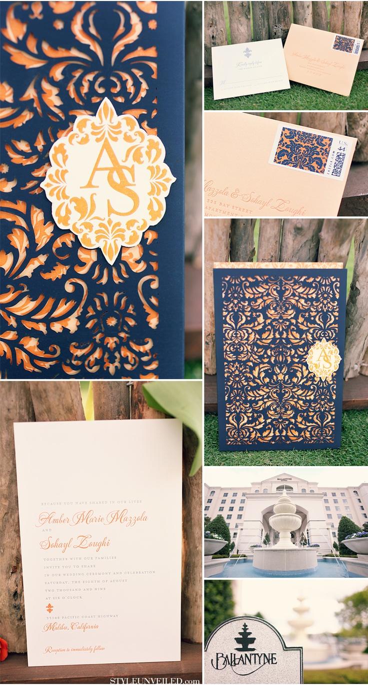 Invitaciones de boda en azul y durazno y corte laser