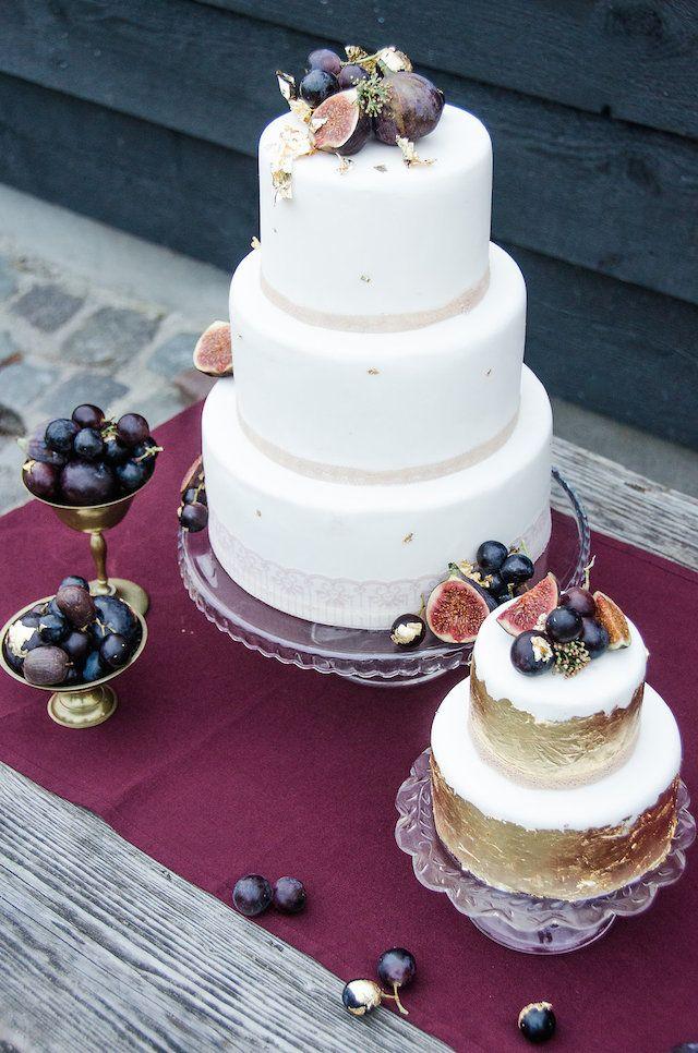 Pastel para boda rustica chic en ciruela y dorado