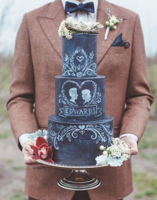 Pasteles de bodas originales escritos como pizarra