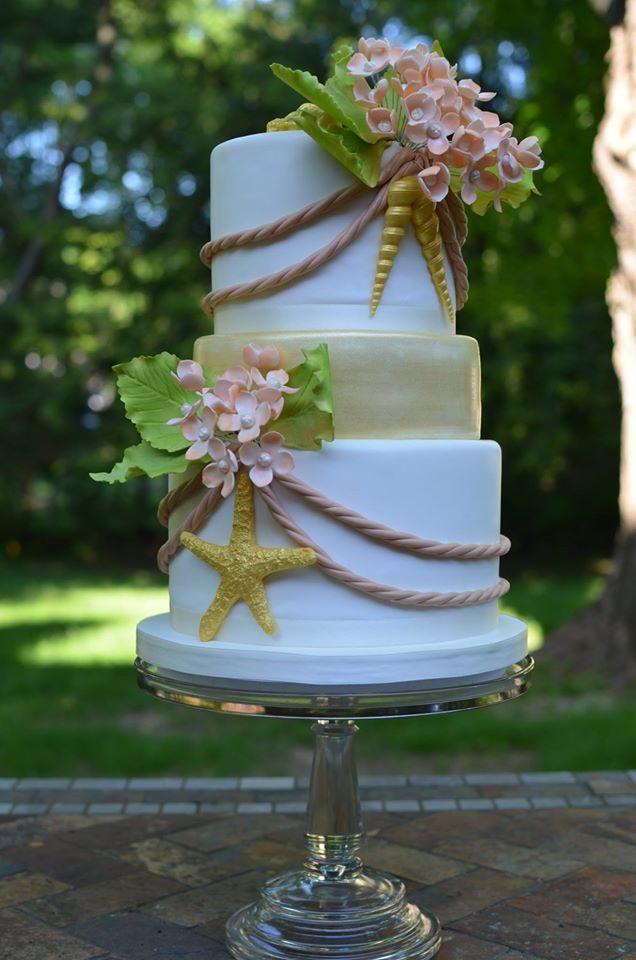 Perfecta tarta para una boda en la playa