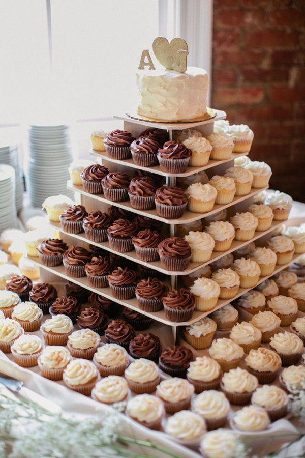 Tartas de cupcakes para bodas con poco presupuesto