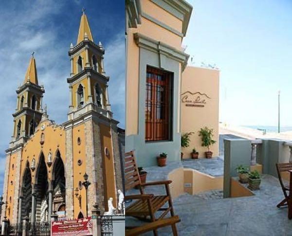 Bodas en Mazatlán - La Basilica in Mazatlan a la izquierda y la Casa Lucila Boutique hotel en Mazatlan