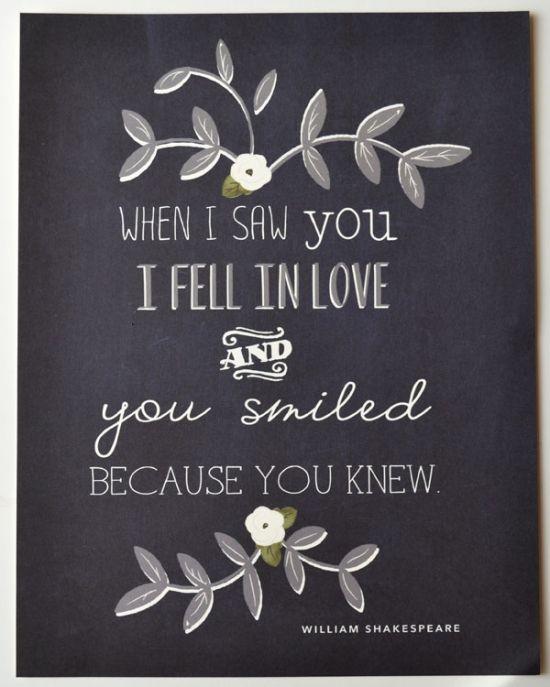 Cuando te vi me enamore y tu sonreíste porque lo sabias. - Cita de amor de William Shakespeare