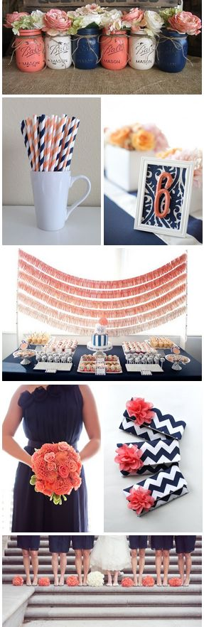Tramas y texturas para hermosos arreglos para bodas. Coral y azul marino colores para bodas