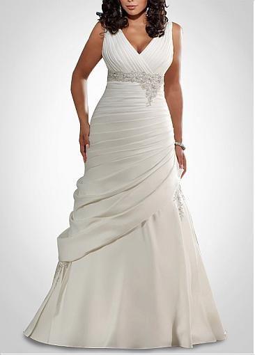 Glamoroso vestido de novias para gorditas corte sirena de seda con escote en V con apliques