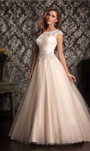 Trajes de novia con hermosos tirantes anchos en ombre de rosa palido