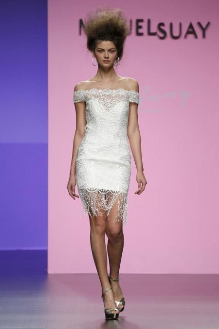 Vestido de novia corto de Miquel Suay – Amberlace 2016