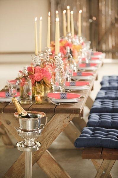 Arreglos para bodas en azul marino y rosa