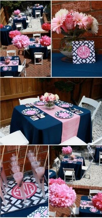 Delicados arreglos para bodas en Azul marino y rosa una combinacion de colores para boda increiblemente hermosa