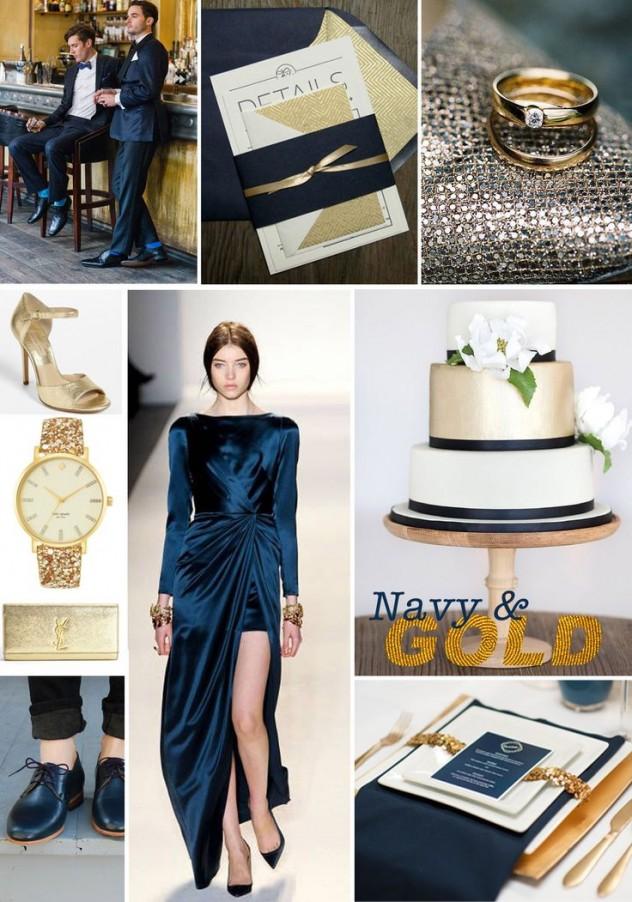 Elegante combinación de dorado y azul. Fotografía cortesía de gentandbeauty.com