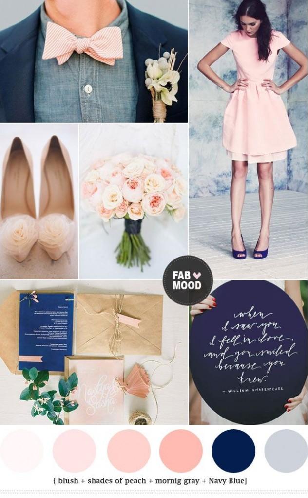 Azul marino y rosa -Combinaciones de colores para bodas por Fab Mood