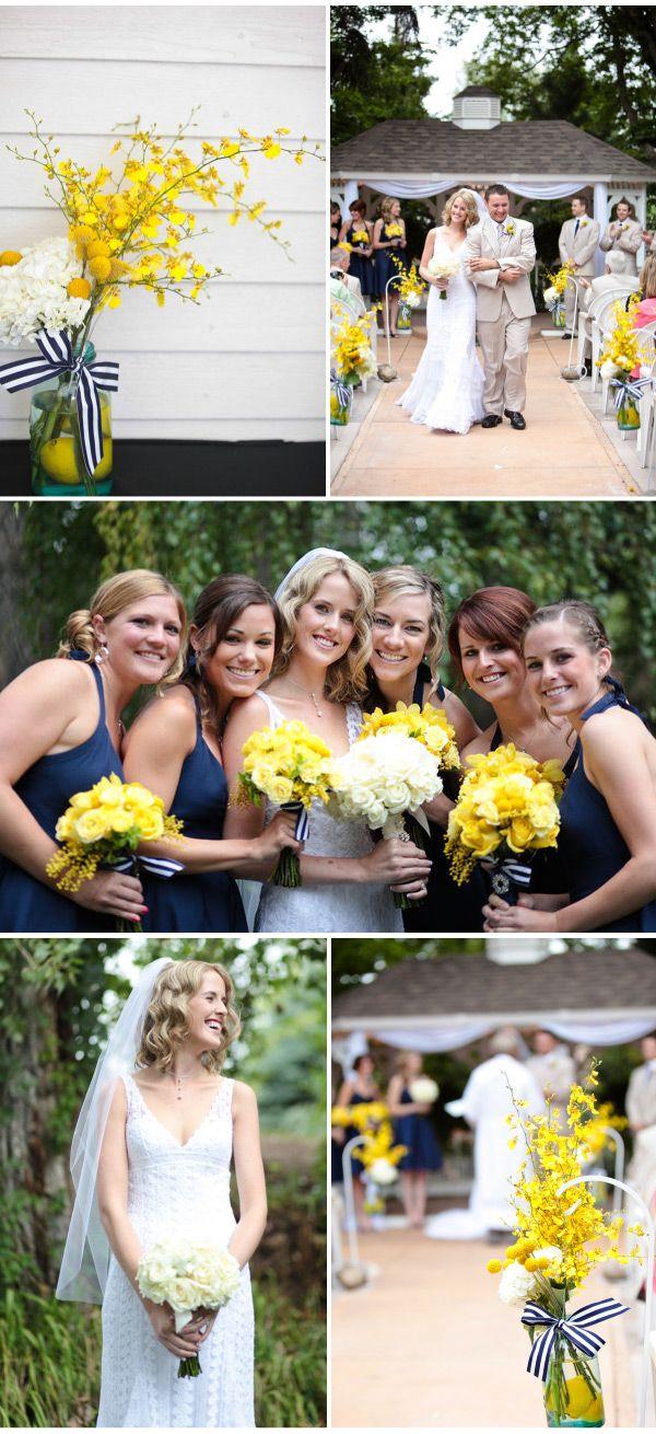 A qué son llamativos estos ramos y arreglos para bodas ¿No?. decoracion de bodas en azul y amarillo