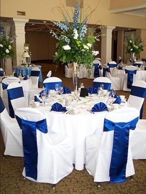 Decoracion de salon para boda azul y plateado
