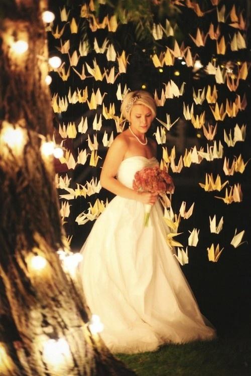 Una hermosa foto llena de magia - manualidades para bodas grullas de papel paso a paso!