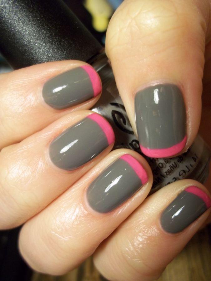 Manicuria francesa en gris y rosa