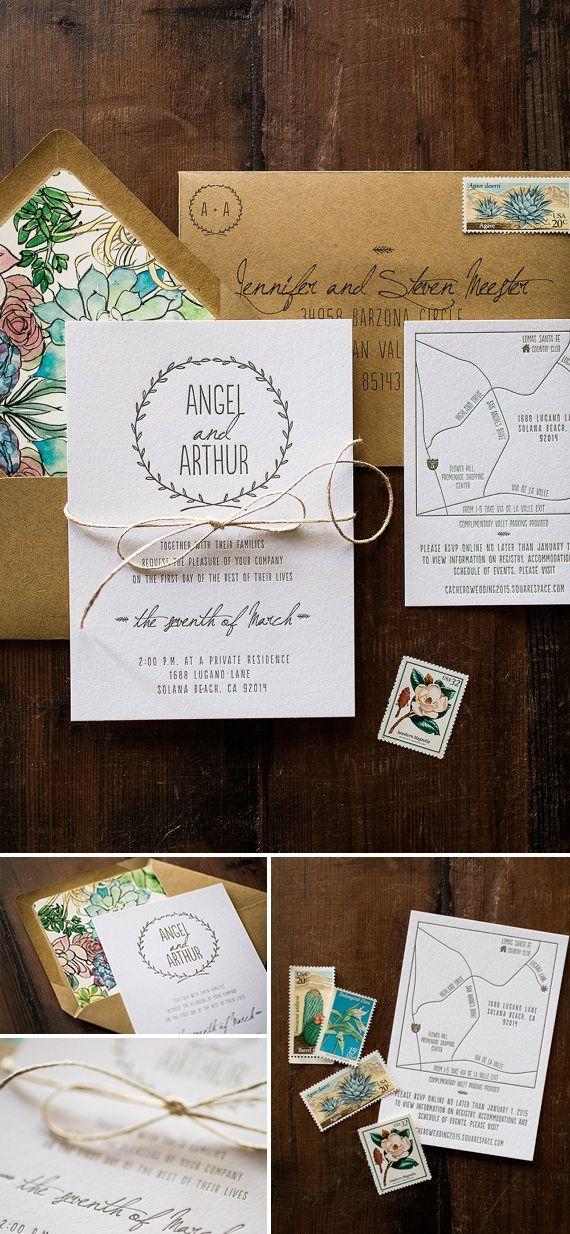 Perfecta para bodas al aire libre, esta invitación rústica con letterpress, esta inspirada en la naturaleza y las flores