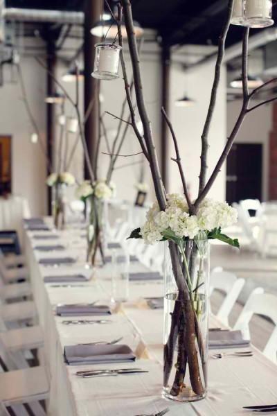 Centros de mesa para boda de estilo industrial, economicos y sofisticados solo necesitas ramitas