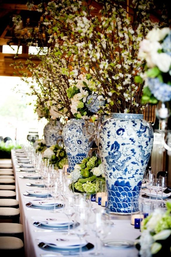 Centros de mesa en azul y blanco