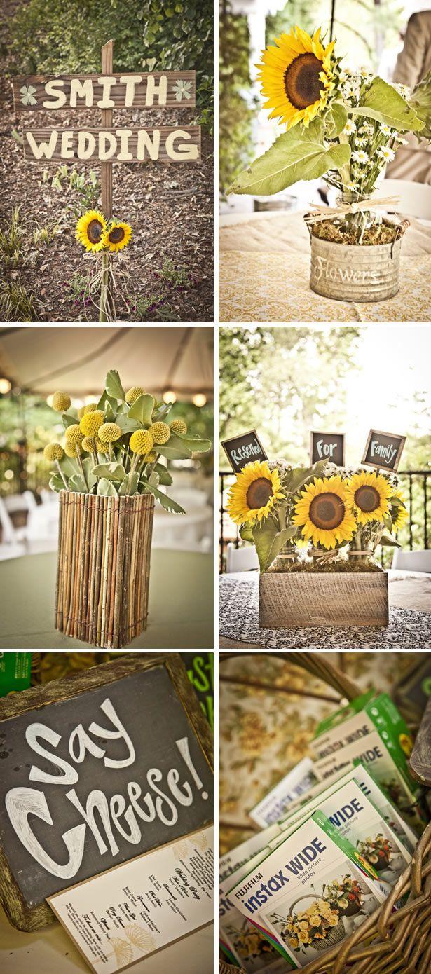 Inspiración veraniega y campestre, centros de mesa para boda en jardin con girasoles
