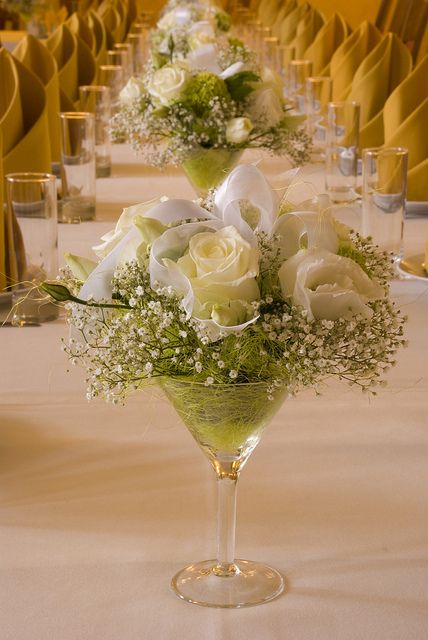 Champagne Glass Wedding Centerpieces