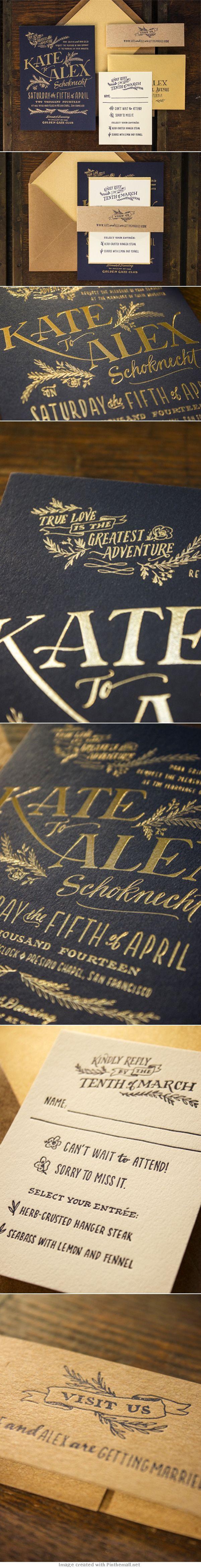 Invitaciones de boda rústicas y elegantes impresas con foil en dorado, azul, y beige de Ladyfingers Letterpress - OhSoBeautifulPaper.com