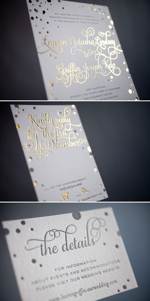 Detalles metalizados para tu invitacion de bodas en blanco y dorado