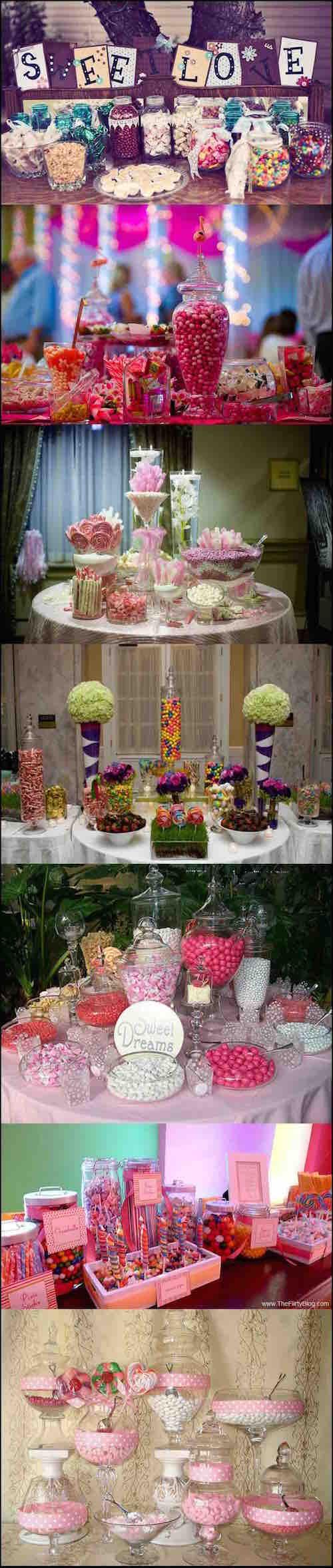 Los candy bar para boda son versátiles y deliciosos. ¿Cuál es tu estilo favorito de candy bar para bodas? No te pierdas las Ideas de mesa de dulces para bodas! Foto mydreamwedding.ie