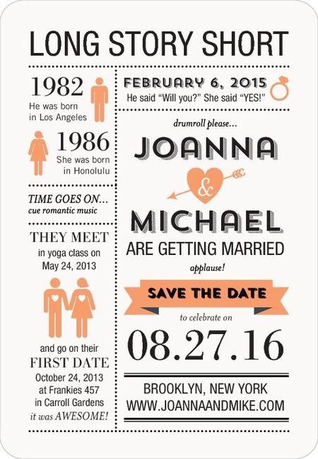 Ideas para save the date en una infografia con la historia de los novios con iman para colocar en la nevera.
