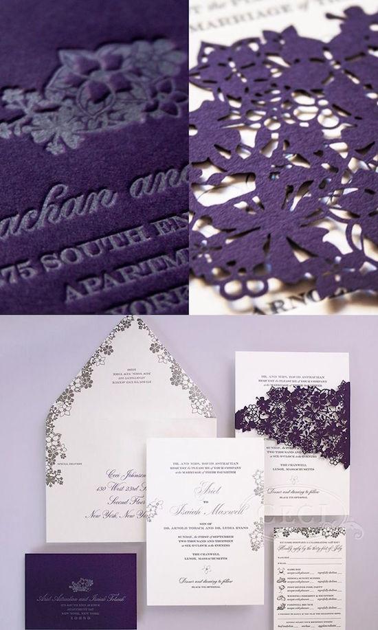 Delicada combinación de flores y elegancia. Invitaciones con corte laser y en forma de sobre clasicas y elegantes
