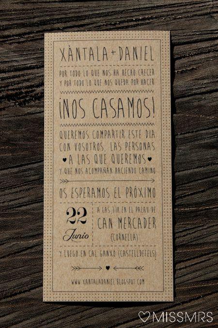 Invitaciones rústicas modernas de missmrs-muchomasqueunaboda.blogspot.com.es