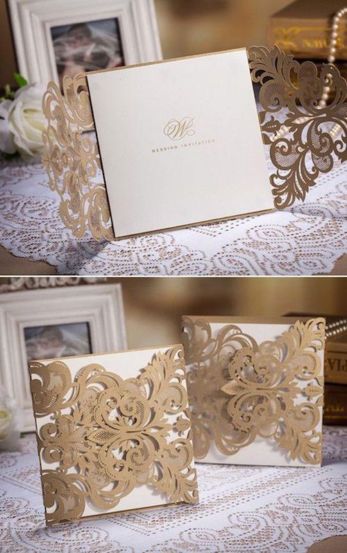 La elegancia del vintage: Invitaciones vintage con corte laser en dorado metalizado estilo bolsillo
