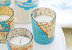 ¿Eres trotamundos? Para las parejas viajeras velas en vasito de souvenirs para boda