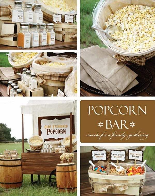 A demás podemos personalizar nuestro popcorn bar con gran variedad de sabores, aderezos y una gran temática. Foto: Unabodaoriginal.es
