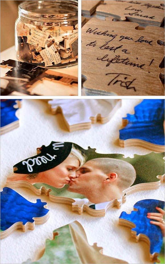 Libros de firmas originales de rompecabezas hecho con fotos de los novios