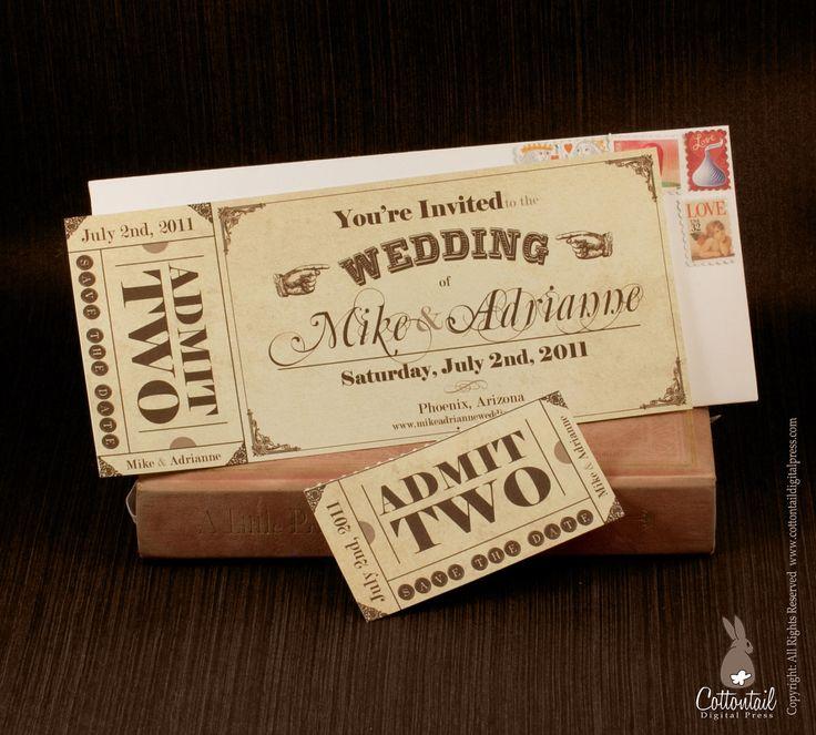 Tickets que invitan a celebrar. Save the dates originales impresos como tickets de cine