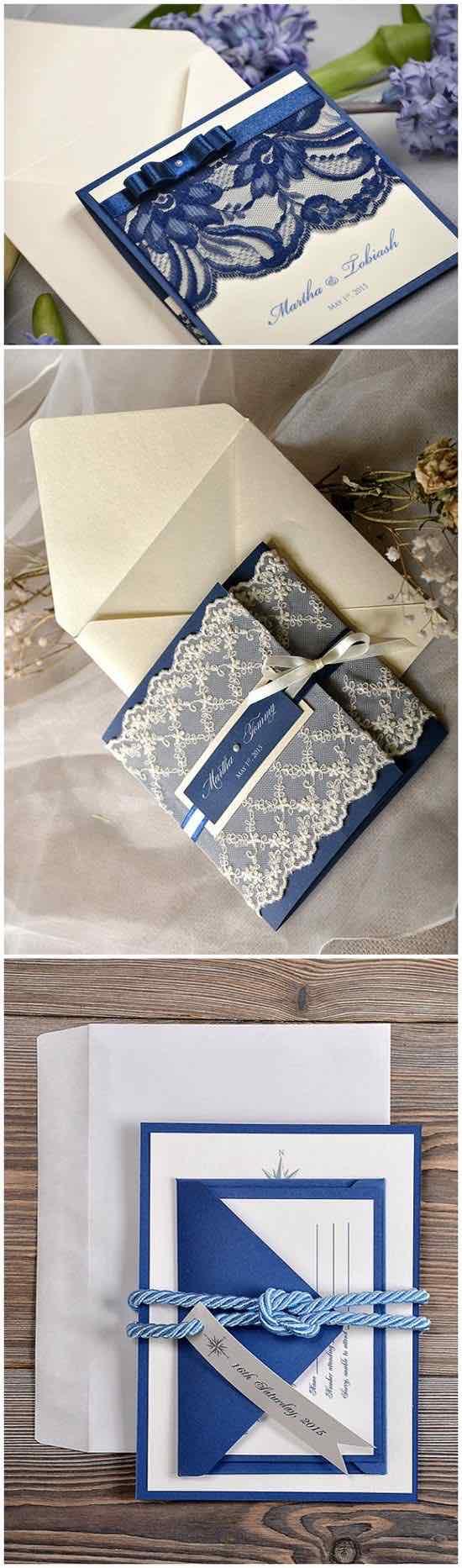 Una boda azul también puede tener invitaciones rústicas con estilo vintage ¿Que opinas?