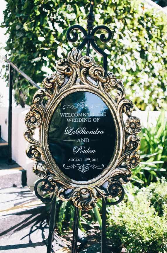 Cartel para bodas en negro y dorado. Ideal para una boda elegante.
