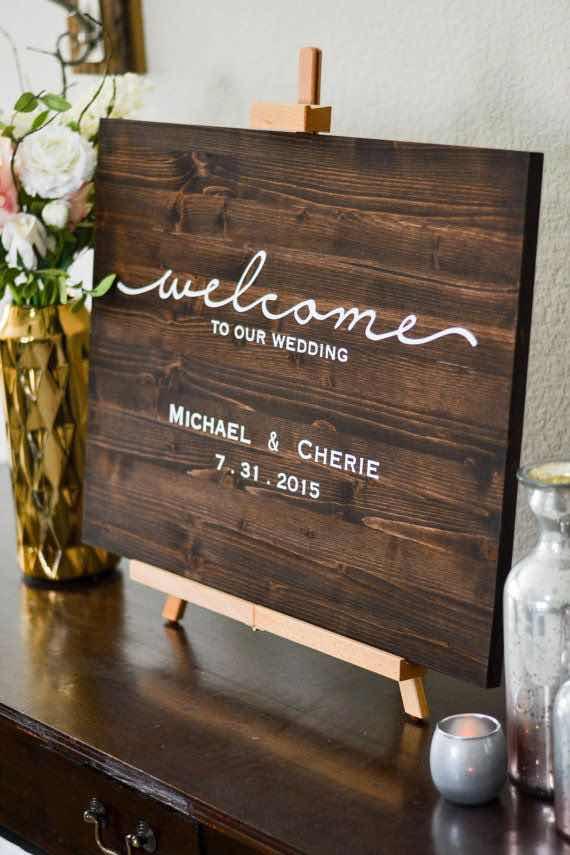 Imagínatelo a la entrada de tu salón de bodas. carteles para bodas modernos