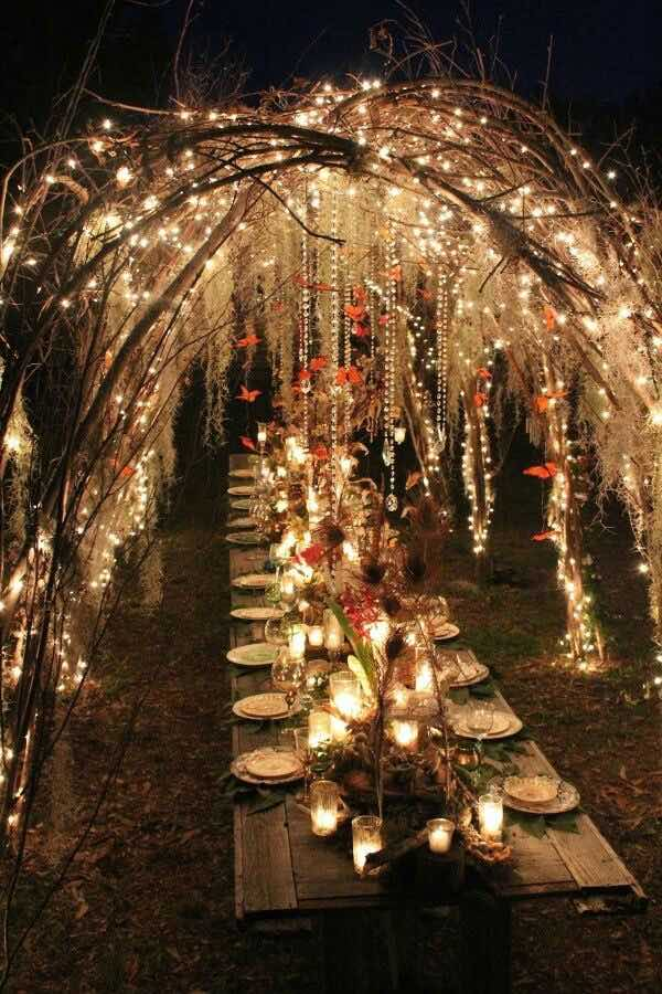 18 ideas para la decoraci n con luces para bodas a copiar for Luces jardin