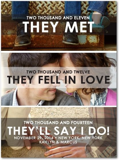Cuenta tu historia con una mezcla de fotos y tipografias en un único Save the Date - weddingpaperdivas.com