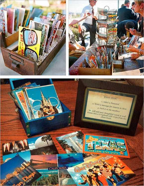 Libros de firmas para bodas hechos con postales estilo vintage con mensajes para los novios